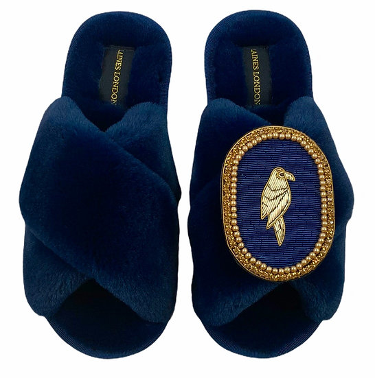 Classic Laines Slippers with Deluxe Navy Parrot Brooch