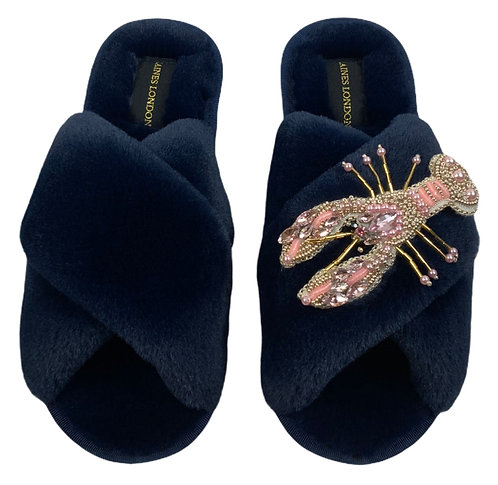 Navy Fluffy Slippers Pearl Pink Lobster Brooch