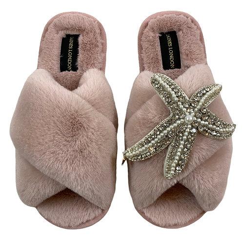 Pink Fluffy Slippers Silver Starfish Brooch