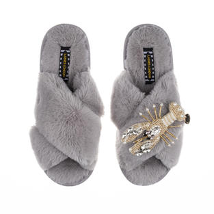 Artisan Pearl & Gold Lobster on Grey Classic Slippers