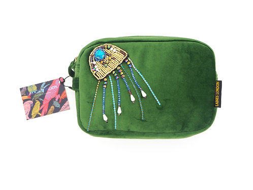 Green Velvet Bag With Crystal Jellyfish  Brooch