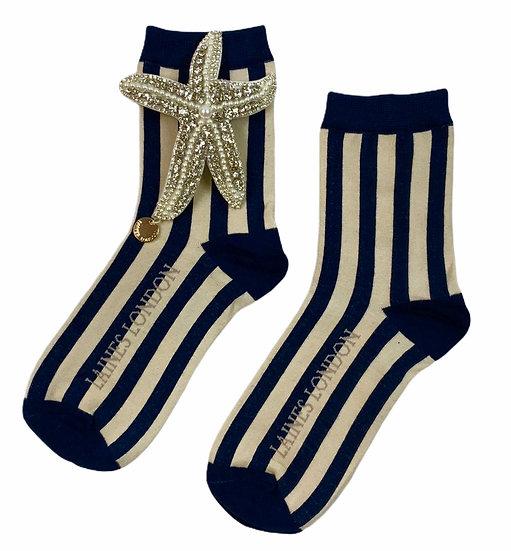 Navy & Cream Stripe Socks With Artisan Silver Starfish Brooch