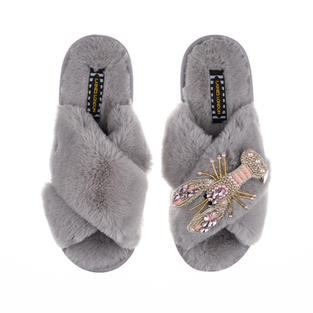 Artisan Pearl & Pink Lobster on Grey Classic Slippers