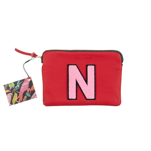 Personalised Small Classic Leather Clutch Bag - Red