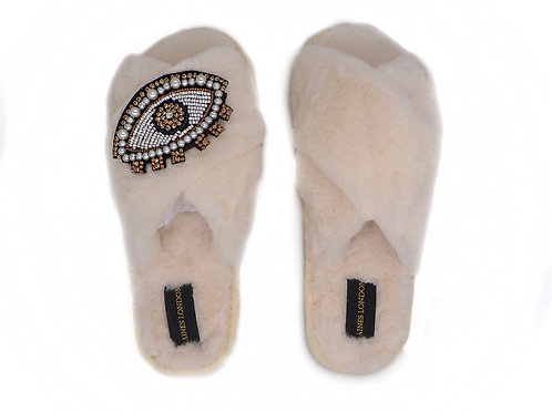 Cream Fluffy Slippers Crystal and Pearl Eye Brooch