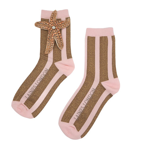 Pink and Gold Shimmer Stripe Cotton Socks With Rose Gold Starfish Brooch