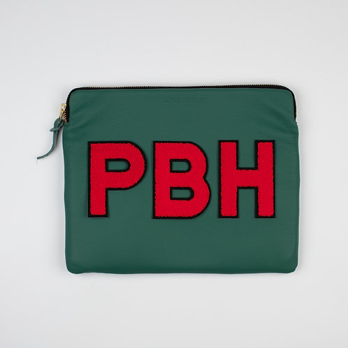 Personalised Large Classic Leather Clutch Bag - Forest Green