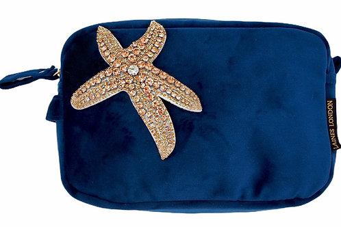 Laines London Navy Velvet Bag With Rose Gold Starfish Brooch