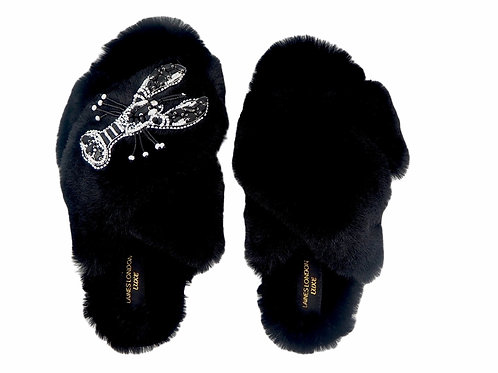 Laines Luxe Fluffy Black Slippers With Monochrome Mollie Lobster Brooch