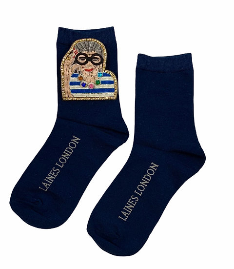 Navy Cotton Socks With Deluxe Artisan Fashion Icon Brooch