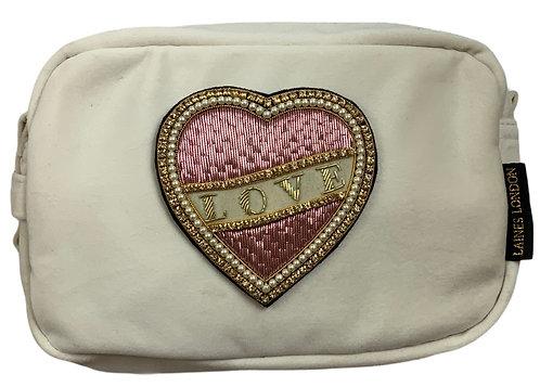 Laines London Luxe cream Velvet Bag With Deluxe Cream Love  Brooch