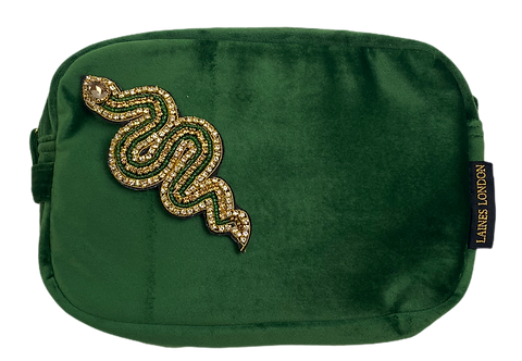 Laines London Green Velvet Bag With Artisan Gold & Green Snake Brooch