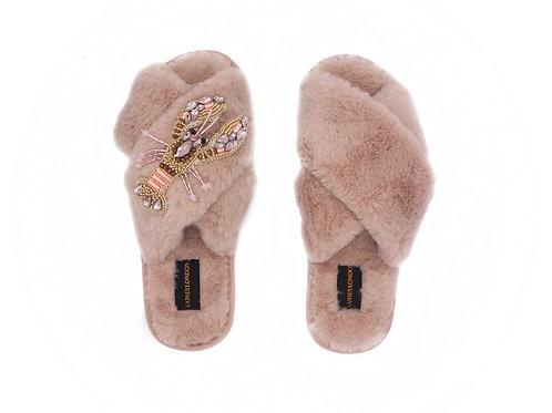 Pink Fluffy Slippers Pink Lobster Brooch