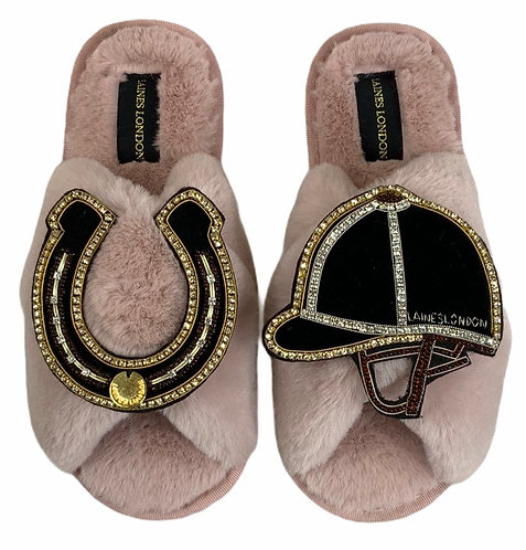 Classic Laines Slippers with Double Deluxe Riding Hat & Horseshoe Brooches