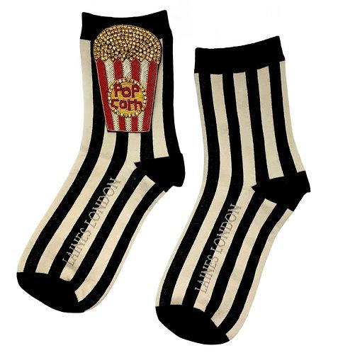 Black & Cream Stripe Cotton Socks With Deluxe Popcorn Brooch