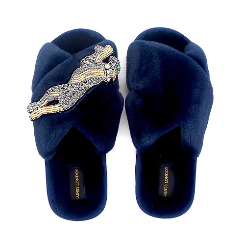 Navy Fluffy Slippers Platinum Panther Brooch