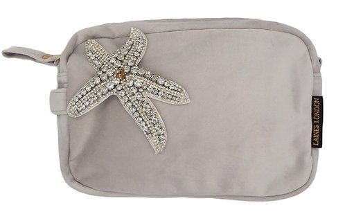 Grey Velvet Bag With Crystal Silver Starfish Brooch