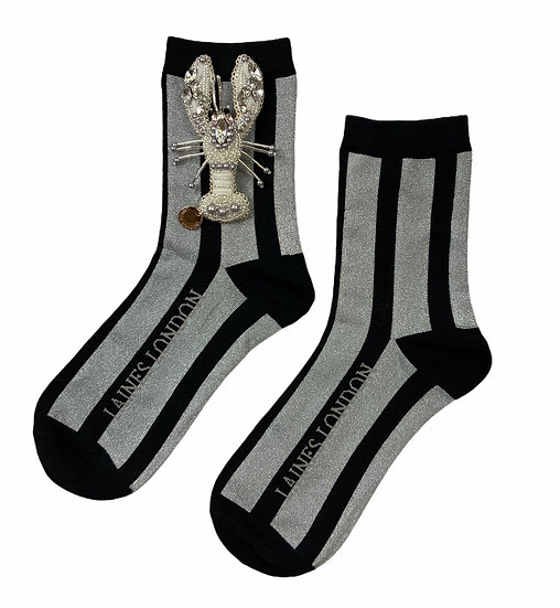 Black & Silver Shimmer Stripe Cotton Socks With Artisan Silver Lobster Brooch
