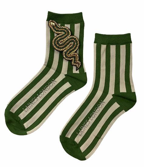 Green & Cream Stripe Socks With Artisan Green Snake Brooch