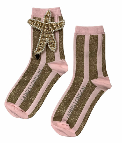 Pink & Gold Shimmer Stripe Cotton Socks With Artisan Pearly Gold Starfish Brooch
