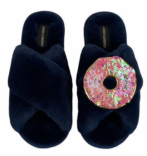Classic Laines Slippers with Deluxe Doughnut Brooch