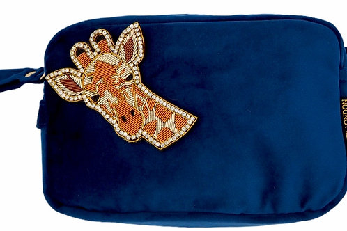 Laines London Luxe Navy Velvet Bag With Deluxe Giraffe Brooch