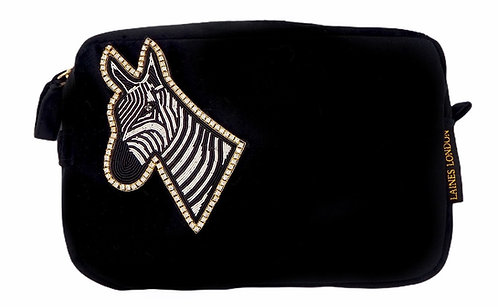 Laines London Luxe Black Velvet Bag With Deluxe Zebra Brooch