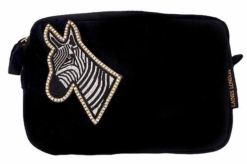 Laines London Luxe Black Velvet Bag With Deluxe Zebra Brooch