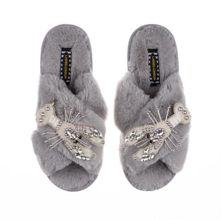 Artisan Double Pearl & Silver Lobster on Grey Classic Slippers