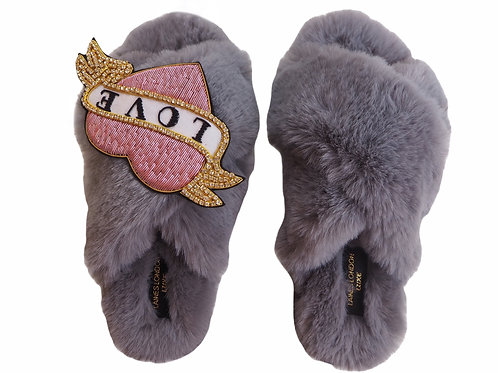 Laines Luxe Fluffy Grey Slippers With Deluxe Diamanté Pink Heart Tattoo Brooch