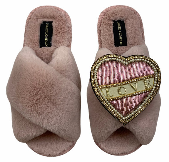 Classic Laines Slippers with Deluxe Pearl Pink and Cream Love Brooch