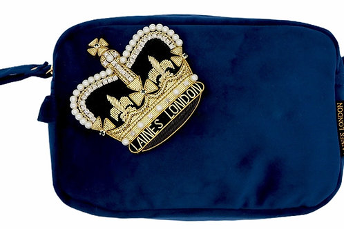 Laines London Luxe Navy Velvet Bag With Deluxe Crown Brooch