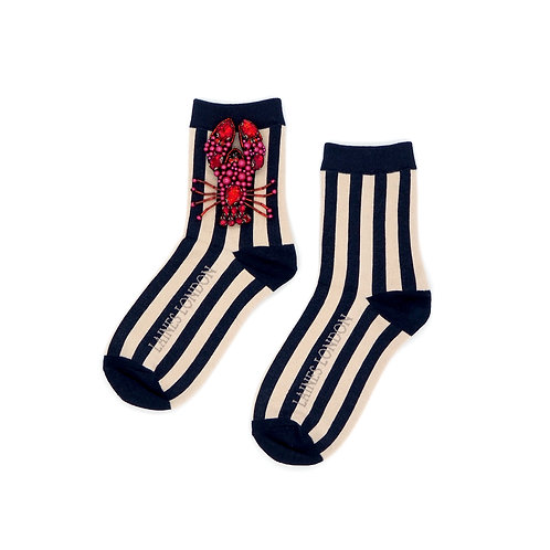 Navy and Cream Stripe Cotton Socks With Beaded Lobster Brooch