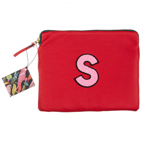 Personalised Large Classic Leather Clutch Bag - Red
