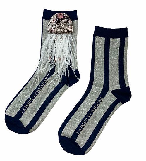 Navy & Silver Shimmer Stripe Socks With Artisan Silver Jellyfish Brooch