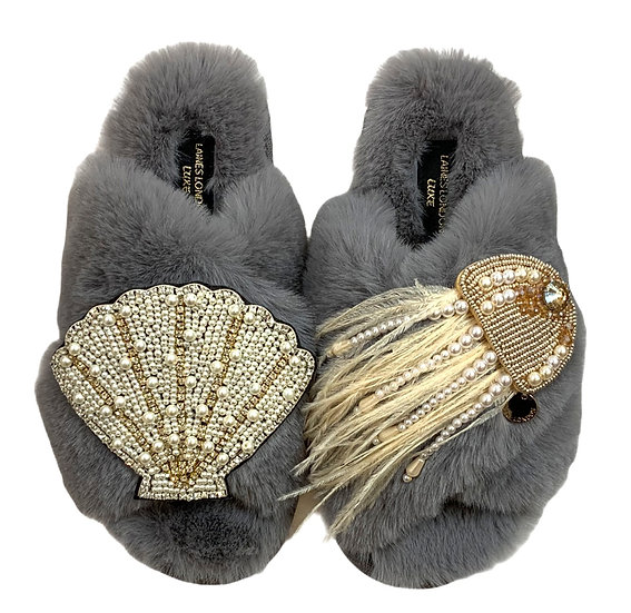 Laines Cloud Grey Slippers with Double Artisan Pearl & Gold Seashell & Jellyfish