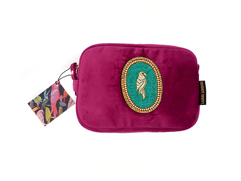 Laines London Luxe Bright Pink Velvet Bag With Bespoke Parrot Brooch
