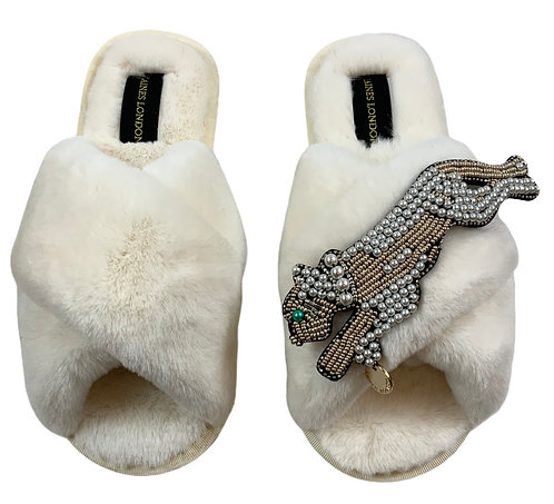 Cream Fluffy Slippers with Pearl and Gold Panther Brooch