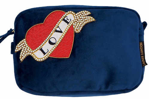 Laines London Luxe Navy Velvet Bag With Deluxe Red Heart Love Tattoo Br