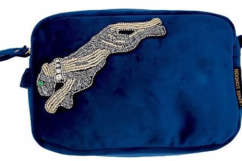 Laines London Navy Velvet Bag With Platinum Panther Brooch