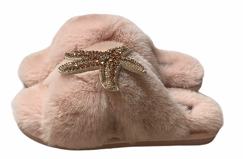 Laines Cloud Pink Slippers with Rose Gold Starfish
