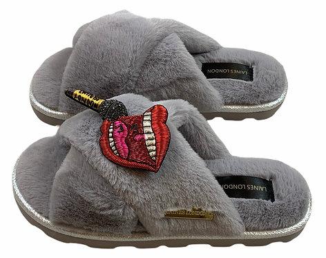 Ultralight Chic Slippers / Sliders Premium Deluxe Rockstar Brooch