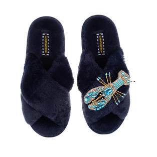 Artisan Pearl & Blue Lobster on Navy Classic Slippers