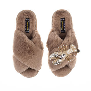 Artisan Pearl & Gold Lobster on Toffee Classic Slippers