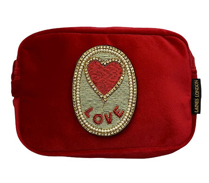 Laines London Luxe Red Velvet Bag With Deluxe Love Balloon Brooch