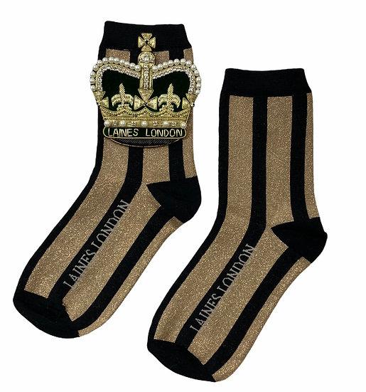Black & Gold Shimmer Stripe Socks With Artisan Deluxe Crown Brooch