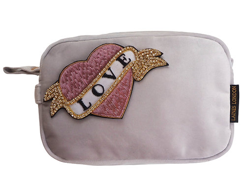 Laines London Luxe Grey Velvet Bag With Deluxe Pink Heart Love Tat