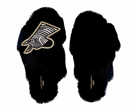 Laines Luxe Fluffy Black Slippers With Deluxe Diamanté Zebra Brooch