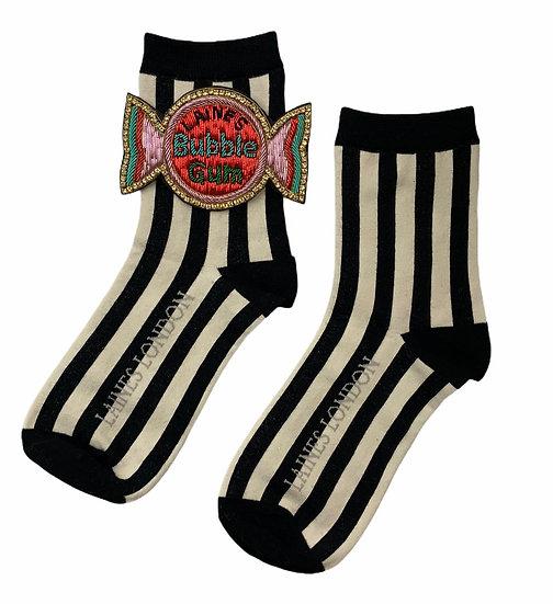 Black & Cream Stripe Cotton Socks With Deluxe Artisan Bubble-gum Brooch