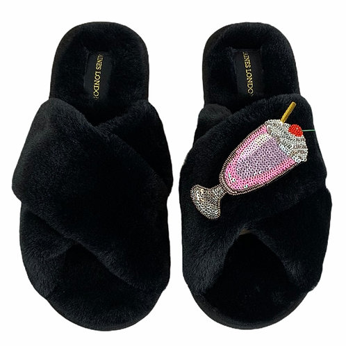 Classic Laines Slippers with Deluxe Milkshake Brooch